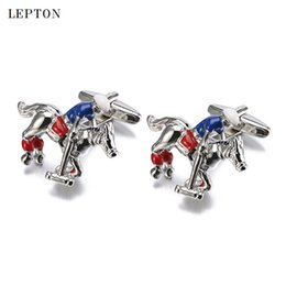 Wholesale Horse Cufflinks For Men - 2017 Sale Real Tie Clip Horse Cufflinks Lepton Brand Metal animal Horse Cuff links For Men Shirt Cuff Cufflink Relojes gemelos