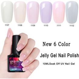 Wholesale art jelly - Modelones 10ML Transparent Jelly UV Nail Gel Polish Soak Off Pink 6 Colors Gel Nail Polish Nail Art Manicure