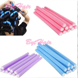 Wholesale Wholesale Hairstyles Tool - Bythair Free Shipping Hair Rollers 10x Hairstyle Foam Curler Roller Stick Spiral Curls Tool DIY Bendy Hair Styling Sponge In Large Stocks