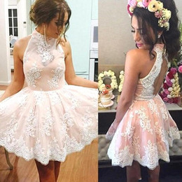 Wholesale Dress High Grade - Hot Sale 2017 Sparkly Short Lace Halter Homecoming Dresses Keyhole Backless A Line Prom Cocktail Party Gowns 8th Grade Graduation Gowns