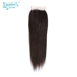 Wholesale Closure Wigs - Good Peruvian Straight Closure Queens Hair Products Peruvian Lace Closure Straight 3 Part Human Hair Closure Bleached Knots Free Shipping