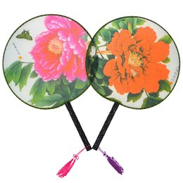 Wholesale Chinese Silk Costume - Chinese Palace Silk Round Fan with Handles Ladies Hand Held Fans Ethnic Dance Show Props