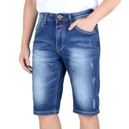 Wholesale Short Trousers Jeans - Wholesale-Brand Mens Lightweight Stretch Denim Jean Shorts Blue Short Plus Size Jeans for Men Summer Mens Short Pants Trouser MA310