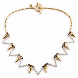 Wholesale Create Charm Necklace - 2015 Pendant Necklace Geometric Rivet Design Created Rhinestone Necklace For Women Charm Jewelry Wholesale