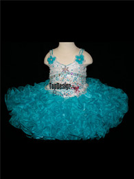 Wholesale Turquoise Infant Dresses - 2017 EYE CATCHING WHITE AND TURQUOISE STRAP INFANT PAGEANT DRESS BR1074 CUPCAKE BIRTHDAY DRESS WHOLESALE FREE SHIPPING