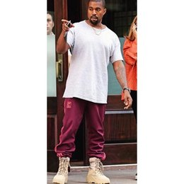 Wholesale Polyester Comfortable - Wholesale- Kanye west Season 4 Crewneck Sweatpants S-3XL CALABASAS Pants Men loose Joggers Comfortable Men Elastic Pants Hip Hop