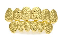 Wholesale Tooth Shaped Jewelry - big bling teeth NEW Gold Color Hip hop Grillz Lattice shape Teeth Grill Top & Bootom Groll Set With silicone teeth Fashion Party Jewelry