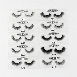Wholesale Lashes Box - Wholesale- 3D Mink Eyelashes Natural Extension Long Cross Thick Mink Lashes Handmade Eye Lashes A01-A19 (blank box available)