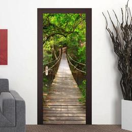 Adesivi murali 3d paesaggio online-Autoadesivo decorativo della copertura della porta del frigorifero decorativo del partito, autoadesivo della parete dell'autoadesivo della parete di modo della natura 3D Decorazioni per la casa Poster di paesaggio F 2-18L