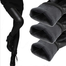Wholesale Winter Leggings Womens - Wholesale- womens leggins 2016 autumn winter legging thickening velvet black leather leggings skinny pants warm for women legins