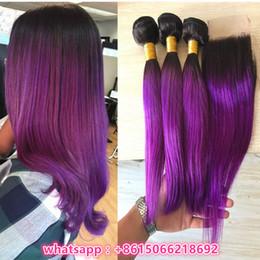 Wholesale Two Tone Brazilian Mixed Length - 10A Brazilian Purple Ombre Lace Closure With Bundles Two Tone #1b Purple Human Hair With Closure Purple Dark Roots Bundles