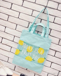 Wholesale Small Transparent Beach Bags - Korean version of the small fresh soft transparent splicing fruit canvas shopping bag jelly beach cute female shoulder bags yellow sold 27