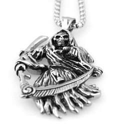 Wholesale Death Pendants - 53mm * 36mm Holy Saint Death Santa Muerte 316L Stainless Steel Pendant Men's Silver Necklace
