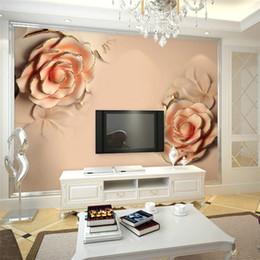 3d rosa flor pano de fundo Desconto Personalizado 3d foto papel de parede 3D estereoscópico Romântico Rosa Rosa Flor sala de casamento TV pano de fundo moderna sala 3d papel de parede