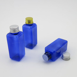 Wholesale Glass Bottles For Liquid Cosmetics - 50 X 50ML Cobalt Blue Empty Square Bottles for Lotions cosmetics Liquid soaps with Orifice Reducer
