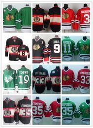 Wholesale Byfuglien Jersey - Stitched NHL Chicago Blackhawks 19 jonathan toews BLANK 3 MAGNUSON 33 BYFUGLIEN 35 ESPOSITO Green Red Black Hockey Jerseys Ice Mix Order