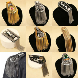 Wholesale Epaulets Accessories - 2017 new arrive Kpop fashion women and men clothes epaulet accessories tassel shoulder epaulettes wholesale free shipping