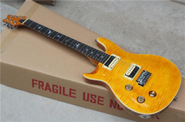 Wholesale Electric Guitar Yellow Inlay - Left-hand Electric Guitar with Yellow Body and Flame Maple Veneer,Bird Fret Marks Inlay,can be Customized