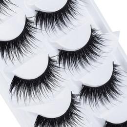 Wholesale Individual Fake Long Black Eyelashes - 5 Pairs Lot Black Natural Thick False Eyelash Soft Long Handmade Makeup Fake Eye Lashes Extension