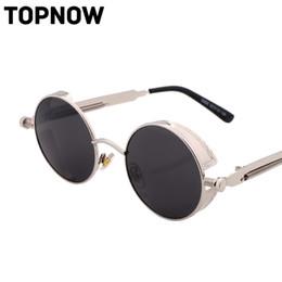 Wholesale Punk Gothic Coat - Wholesale- Fashion Gothic Steam Punk Sunglasses Men Vintage Coating Mirrored Glasses Retro Round Circle Sun Glasses Women Lunettes Gafas