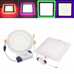Plafón rosa online-6w 9w 16w 24w Panel de luz LED Color doble Panel de techo Lámpara empotrada Rojo Verde Rosa Azul + blanco