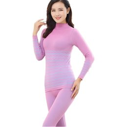 Wholesale Thermal Long Johns For Women - Wholesale- Warm Slimming Le Body Underwear Winter Thermal Underwear For Women Pants Turtleneck Pajamas Long Johns Thermal Clothing Female
