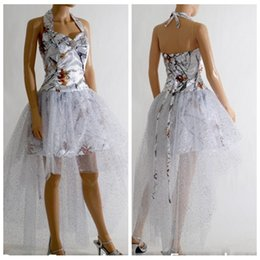 Wholesale Lace Overlay Back - Halter White Camo High Low Prom Dress Lace Up Back Satin Tulle Overlay Cheap Sale 2017 Sexy Vestidos De Festa Camouflage Plus Size