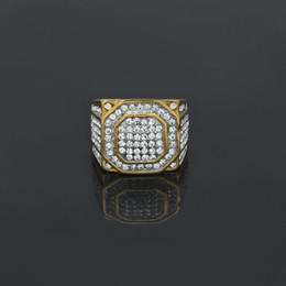 Wholesale Silver Square Bezel Ring - Men's Stainless Steel Square Ring Bling Bling Rhinestone Crystal Silver Gold Plated Punk Rings Fashion Hip Hop Jewelry