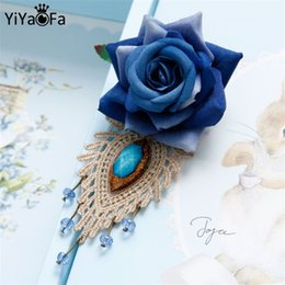 Wholesale Gothic Victorian Fashion - Wholesale- Victorian lace brooch handmade vintage blue enchantress rose Gothic jewelry women accessories fashion corsage BR-73