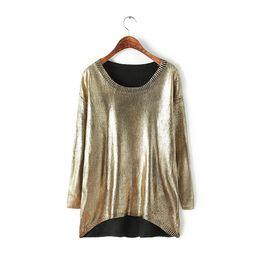 Wholesale Irregular Knitwear - Wholesale-NEW 2016 high street fashion women casual gold O-collar sweater Korean Irregular knitwear tops Long sleeve pullover sweaters