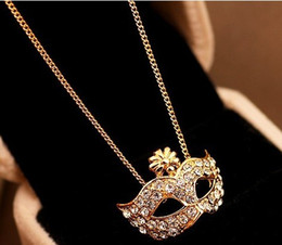 Wholesale Mask Diamond Pendants - Fashion jewelry exquisite fox mask with alloy pendant gold and silver diamond flowers crown female short clavicle necklace accessories