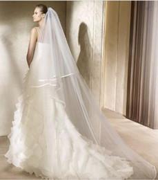 Wholesale Bridal Mantilla Meters - 2017 2T 3 Meters Ivory White Wedding Veil Short Bridal Veils SATIN Edge Bridal Head Pieces Cathedral Bridal Mantilla luxurious and cheap