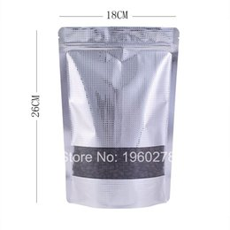 Wholesale Valve Windows - 18x26cm(7x10.25in) New Recyclable stand up valve bag clear window Patterned aluminum foil zip lock bag resealable
