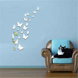 Wholesale Acrylic Decorative - Stereo Decorative Wallpaper Plastic Acrylic Edge Smoothing Wall Stickers 3D Mirror Butterfly High Precision Paster Eco Friendly 10 5fu B