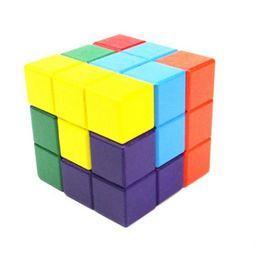 Geist würfel online-GEEK KING 3D Tetris Holzbausteine Spielzeug Zauberwürfel Pädagogisches Gehirn Teaser IQ Mind Game spielzeug Für Kinder geschenk