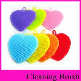 Wholesale Multi Function Pan - heart shape multi function silicone gel Cleaning Brush love silicone brush dishwasher brush double-sided kitchen cleaning tool