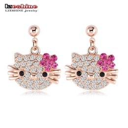 Wholesale Swa Stud - LZESHINE Lovely Cat Flower Stud Earring for Girls Rose Gold Plated Austrian Crystal Kitten Earings SWA Elements Brinco ER0109-A