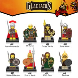 Wholesale Hunter Figures - 120pcs Mix Lot Gladiatus Minifig Rome Commander Eif Hunter Female Warrior Rome Fighters Gladiatus XINH X0137 Mini Building Blocks Figures