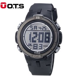 Wholesale Large Led Watches - OTS 2017 Top Brand New Mens Sports Large Dial Digital LED Military Watch Male Waterproof Wristwatches Clock Relogio Masculino
