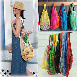 Wholesale Grocery Shopping Bags - Fashion Shopping Grocery Bag Shopper Tote Mesh Net Woven Cotton Bag Home Kitchen Storage Bags YYA300