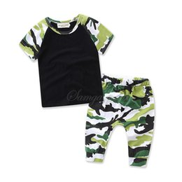 Wholesale Kids Activewear Wholesale - 2017 Boys Childrens Clothing Sets Camouflage Short Sleeve tshirts Pants 2Pcs Set Summer Cotton Activewear Kids Clothes Outfits Wholesale