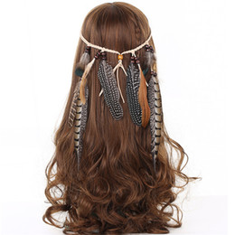 Wholesale Peacock Hair Feathers - Feather Headband Women 2017 Festival Feather Headband Hippie Headdress Hair Accessories Boho Peacock Feather Headdress