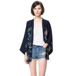 Wholesale Wholesale Chiffon Cardigan - Wholesale- Women Europe and America Fashion Style Retro Print Cardigan Kimono Ladies Three Quarter Sleeve Chiffon Shirt Woman's Blouses