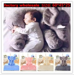 Wholesale Children Animal Pillow - 5 Color Elephant Pillow baby doll children sleep pillow birthday gift INS Lumbar Pillow Long Nose Elephant Doll Soft Plush 60*45*25cm