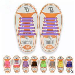 Wholesale Neutral Shoes Running - 13 Colors Unisex Easy No Tie Shoelaces Kids Silicone Elastic Shoe Laces Kids Running Shoelaces Fit All Sneakers 12pcs set CCA5897 100set
