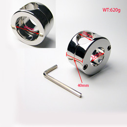 Wholesale Male Slave Ball - Luxury Male Heavy Stainless Steel Metal Penis Ring Cock Cage Delay Scrotum Chastity Device lock Ball Slave wheels Erotic SexToy