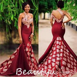 Wholesale Long Ruched Halter Gown - Chic 3D-Floral Appliques Beaded Burgundy Evening Dresses Wear Long Ruched Mermaid Backless Satin Women Party Prom Formal Gowns 2017
