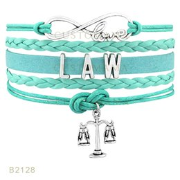 Wholesale Silver Law - (10 Pieces Lot) Infinty Love LAW Metal Charm Bracelets Leather Wrap Black Pink Light Blue Mint Blue Bracelets Drop Shipping
