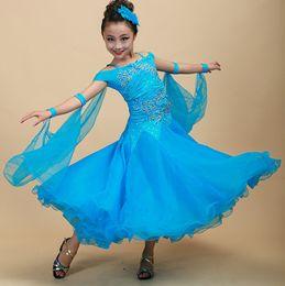 Wholesale Dresses Latin Children - 6Color children Modern Dance Dress Girls diamond embroidery Waltz Tango Foxtrot quickstep costume competition clothing standard dance shirt