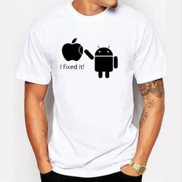 Wholesale Android Logos - 2017 100% Cotton Men T Shirts Android Robot Male T-Shirt Apple Humor Logo Printed Funny T Shirt Short Sleeve Round Neck Tees